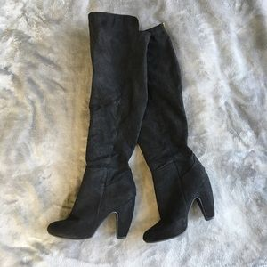 Shoes - Black Suede Knee / Over the Knee Boots with Zipper